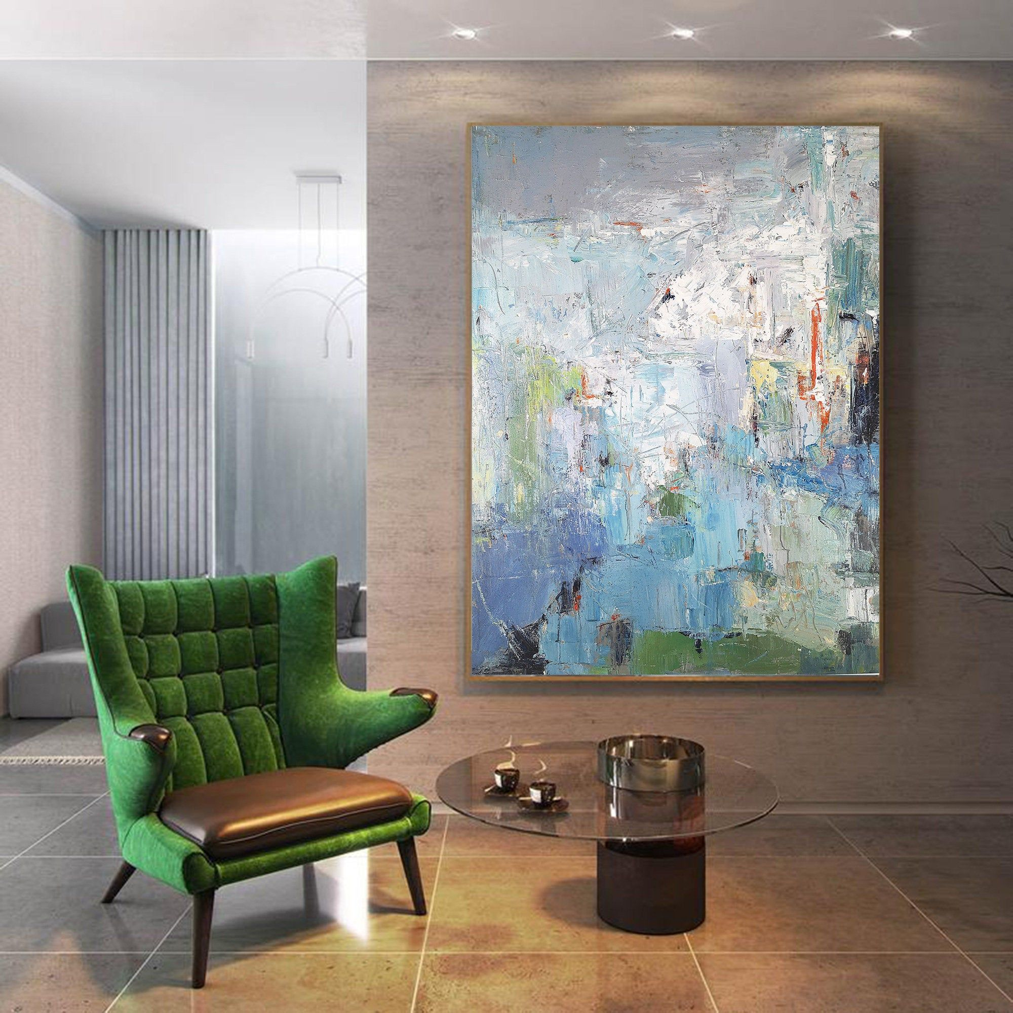 Large Texture Abstract Painting,Acrylic Abstract Painting,Blue Grey Abstract Art Painitng,Large Living Room Art Abstract Paintings On Canvas #951ryecourt