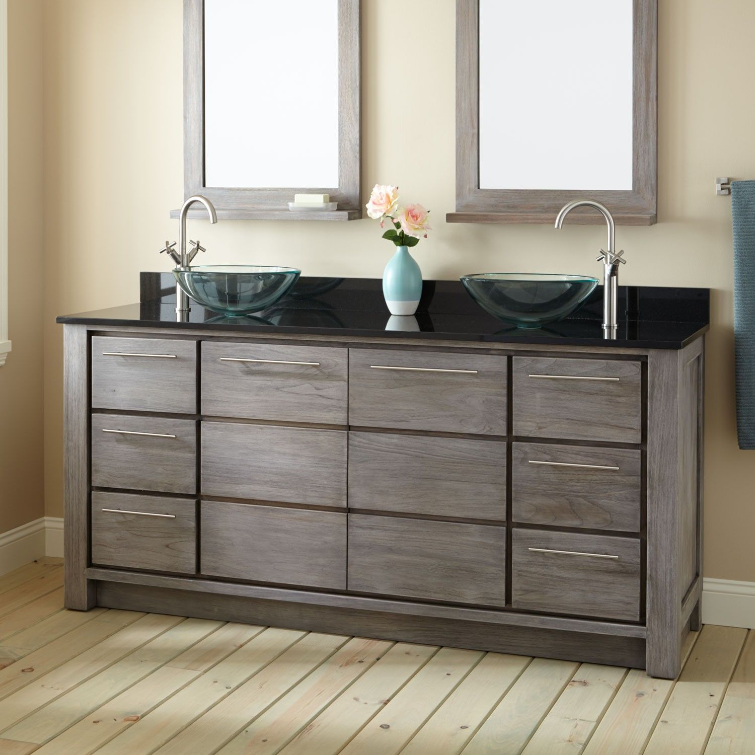 72 venica teak double vessel sinks vanity gray wash - Contemporary double sink bathroom vanity ...