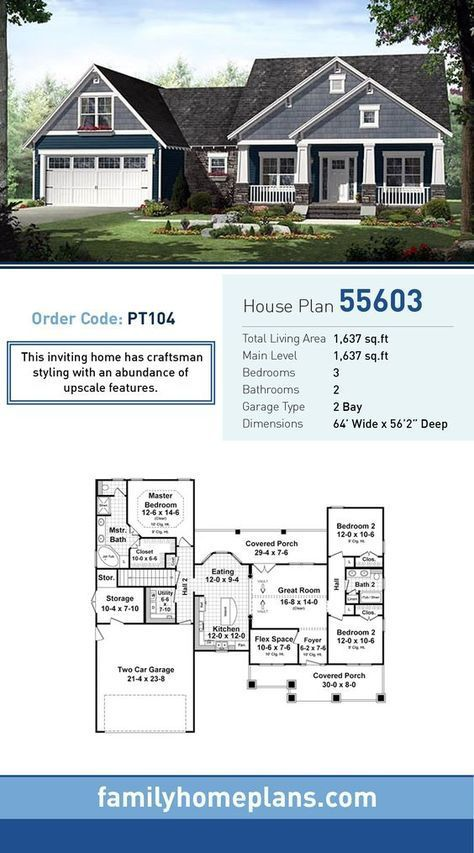 Craftsman Style House Plan 55603 with 3 Bed 2 Bath 2 Car Garage