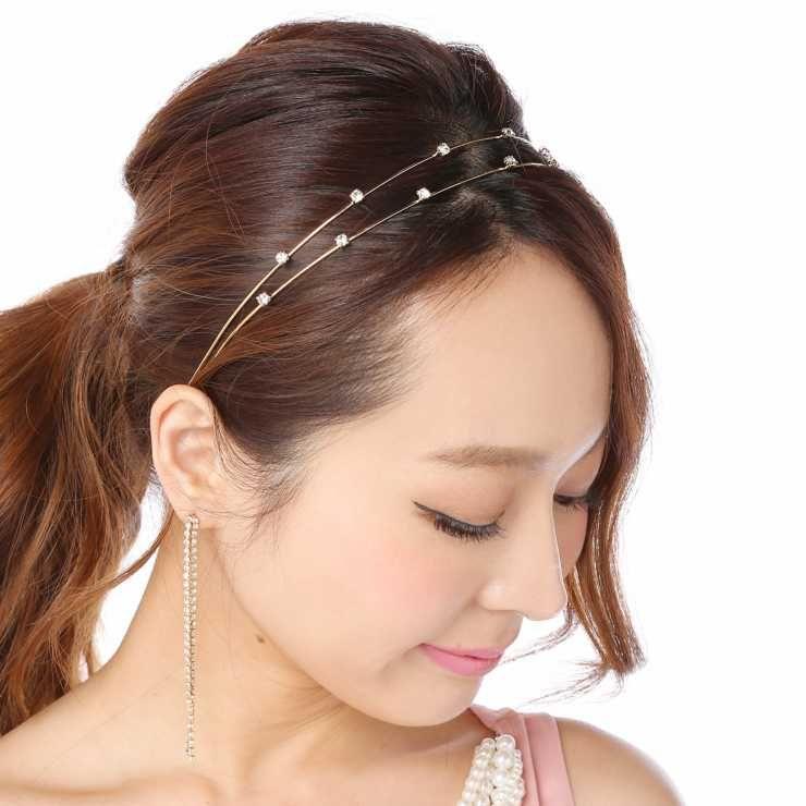 カチューシャ ヘアアクセサリー ヘアアクセ 結婚式 ラインストーン 髪