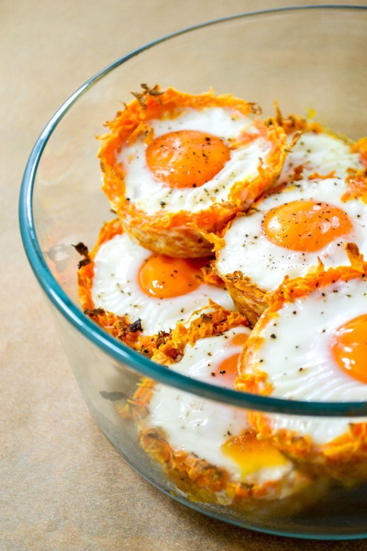 Shredded Sweet Potato Baked Egg Nests #healthyrecipes