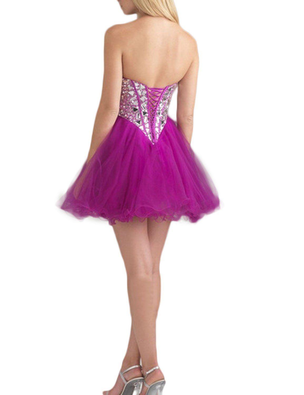 eab8f530c62 LovingDress Womens Homecoming Dress Sweetheart with Sequins Short Prom Dress -Purple