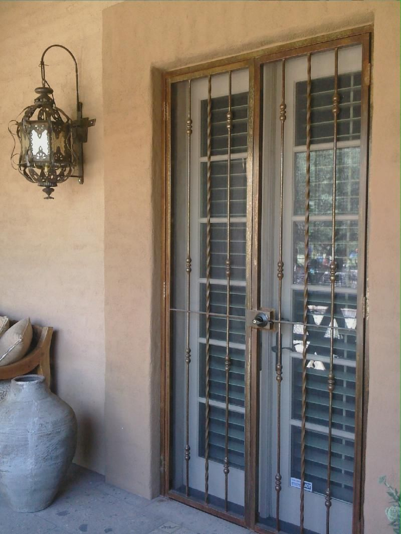 Castro 39 s iron works steel supply inc screen doors for Security screen doors for french doors
