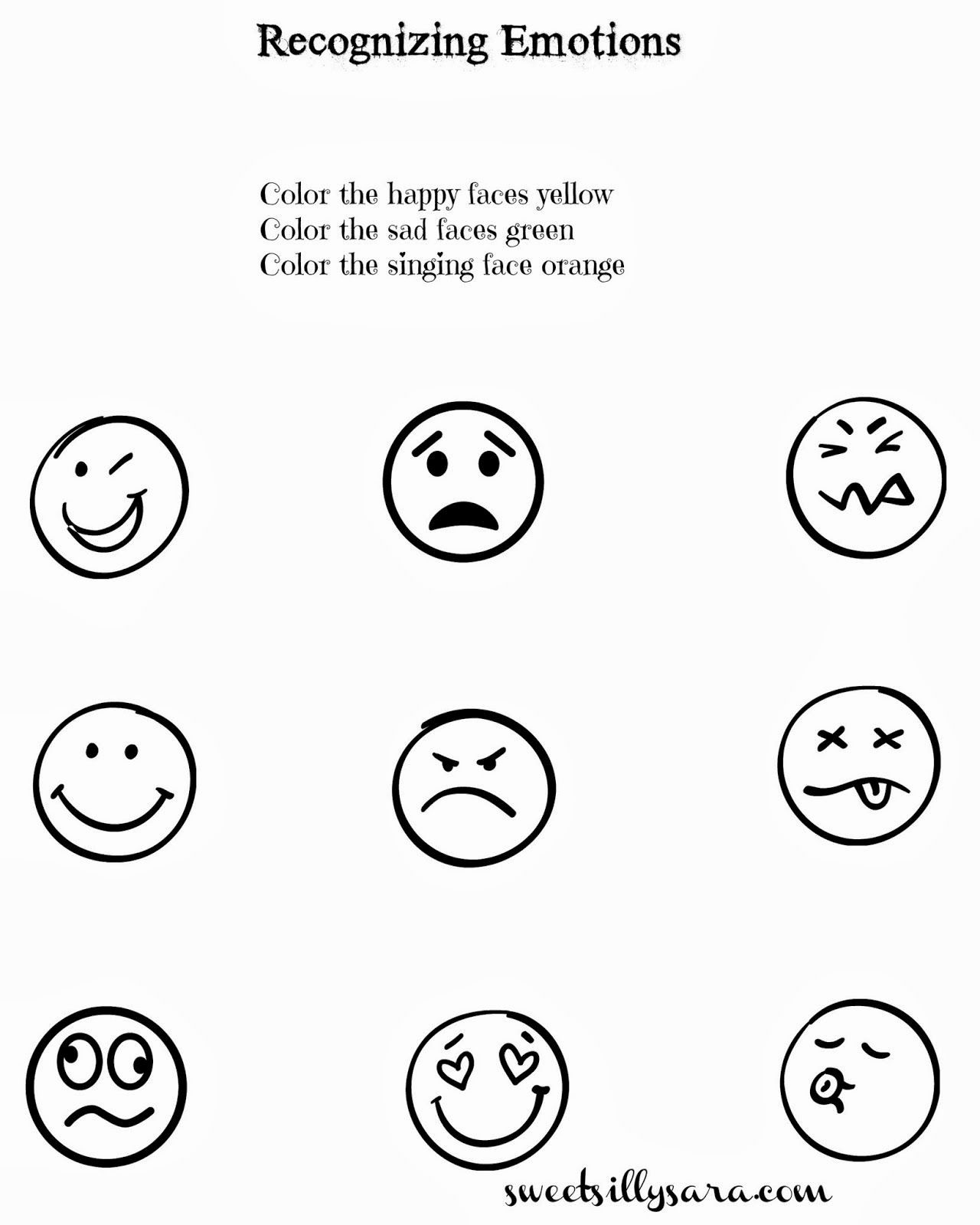Feelings Worksheet For Preschool Student In