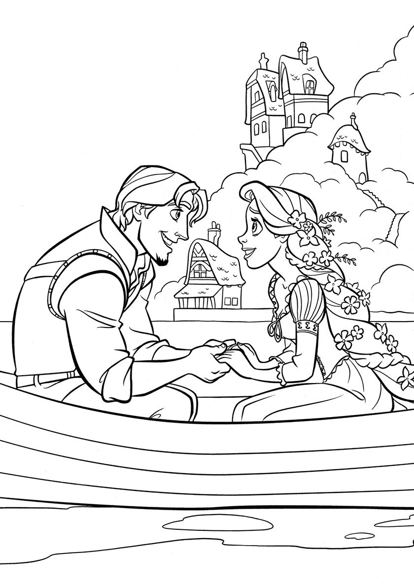 Eugene And Rapunzel In A Boat High Quality Free Coloring From The Category Tan Tangled Coloring Pages Disney Princess Coloring Pages Princess Coloring Pages