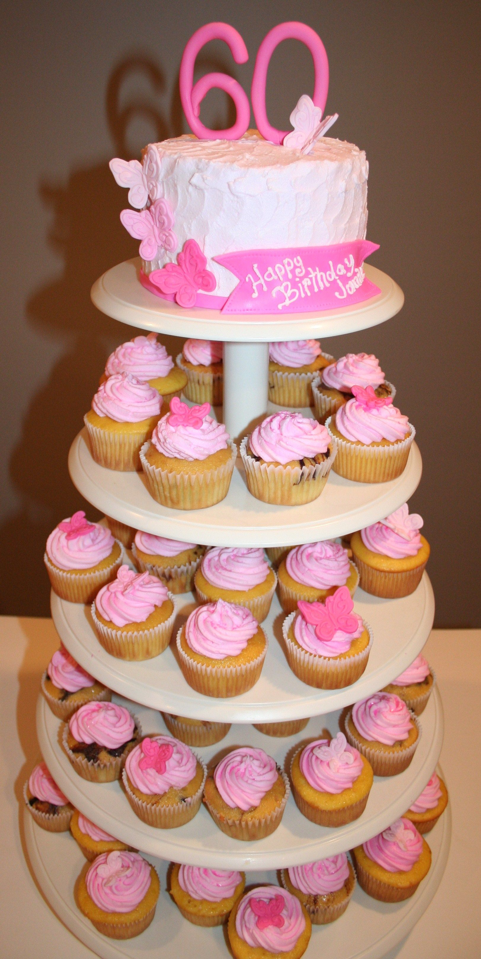 60th Birthday pink butterflies cupcake tower Cupcake Towers