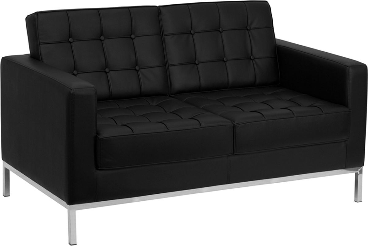 Flash Furniture Hercules Lacey Black Loveseat With Images Contemporary Leather Sofa Black Leather Sofas Flash Furniture