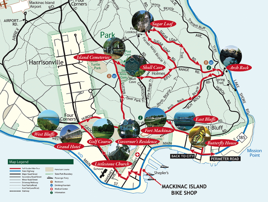 All Hotels On Mackinac Island Self Guided Attractions Tour Click Map To