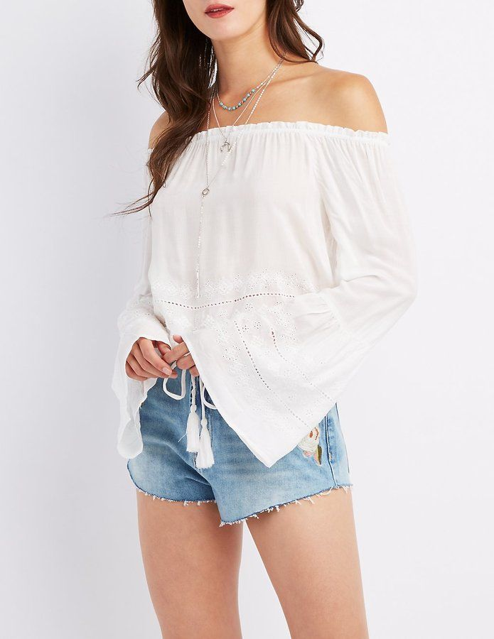 ec3d0026a853e Charlotte Russe Embroidered Eyelet Off-The-Shoulder Top