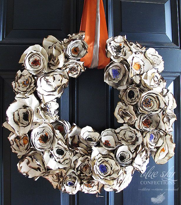 burned paper plates make this incredible wreath! By Blue Sky Confections
