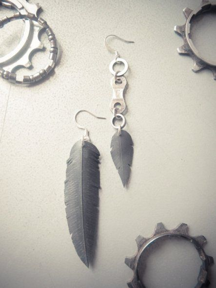 Earrings made from recycled bike tubes. Stunning. #bicycle #recycle #ethicalocean