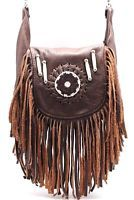 Genuine Leather Boho Fringe Cross Body Bag Red Indians Hip Fanny Loop Hang Pouch