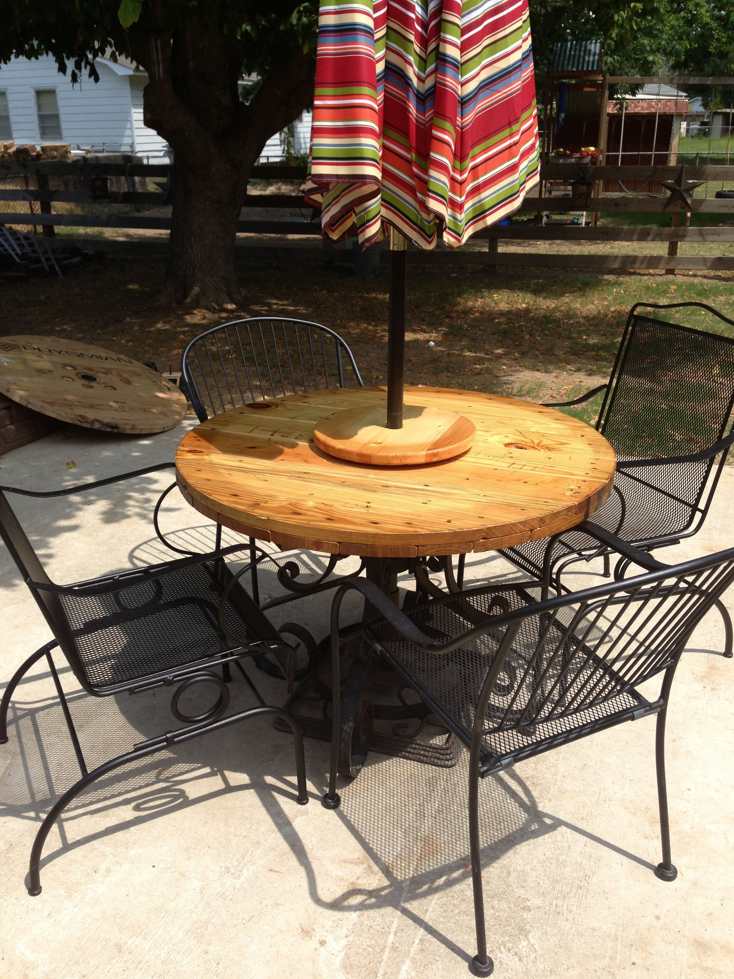 Old wrought iron table base, end of wire spool, another