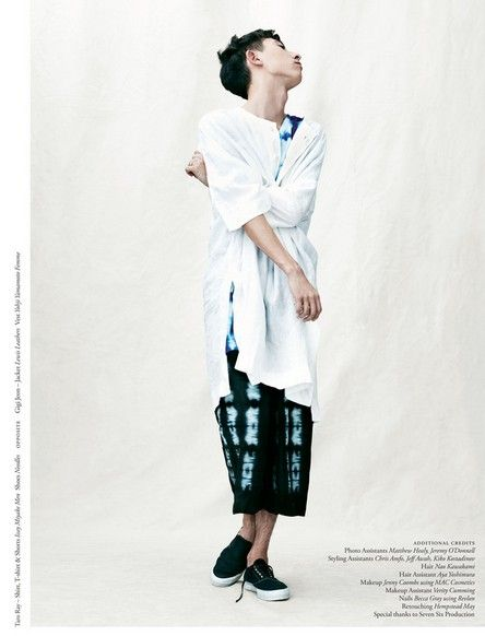 Taro Ray wearing all Issey and Needles shoes. Inventory magazine.