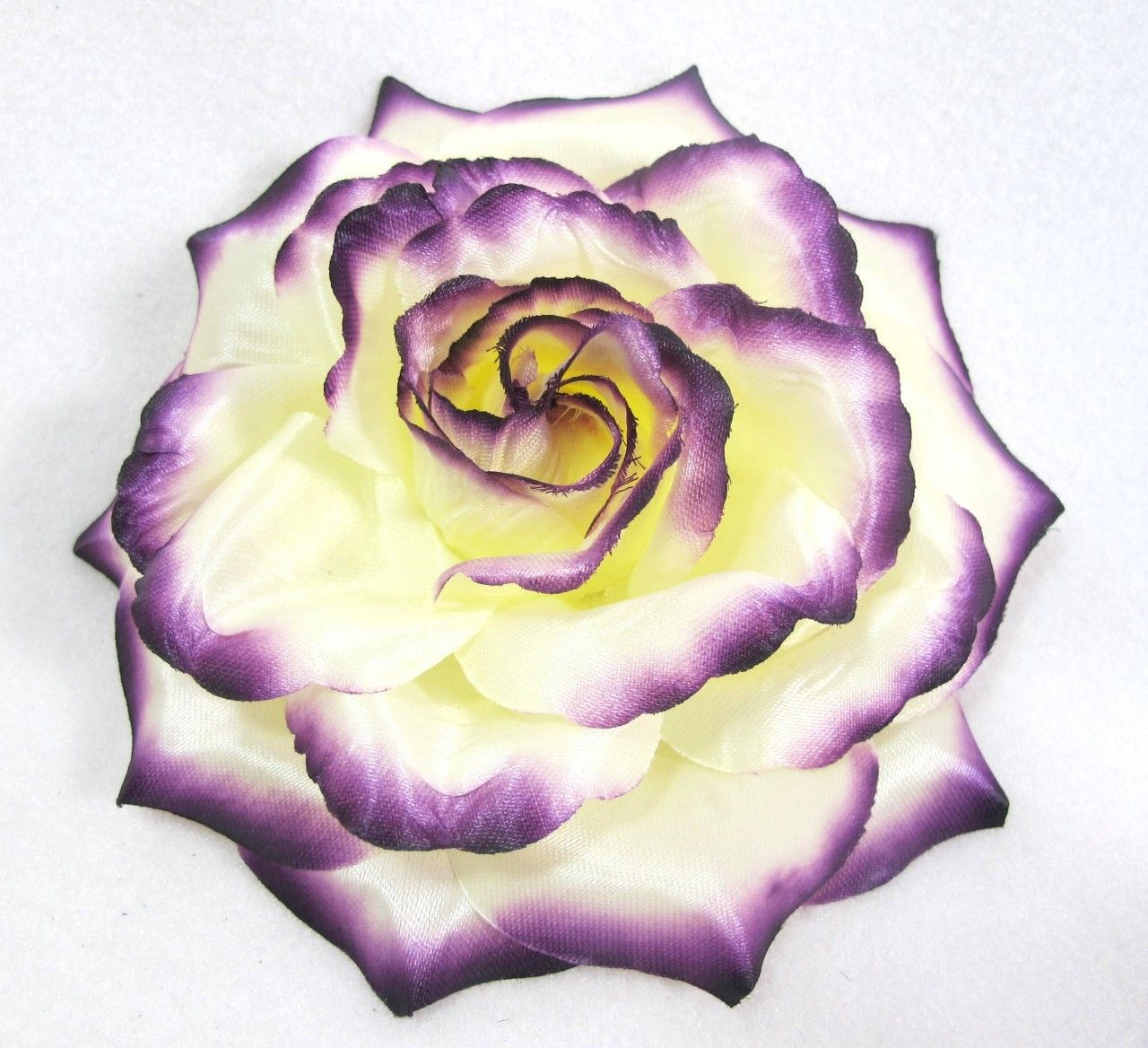 hairflowersnet ivory white and plum purple ombre rose hair flower clip pin and