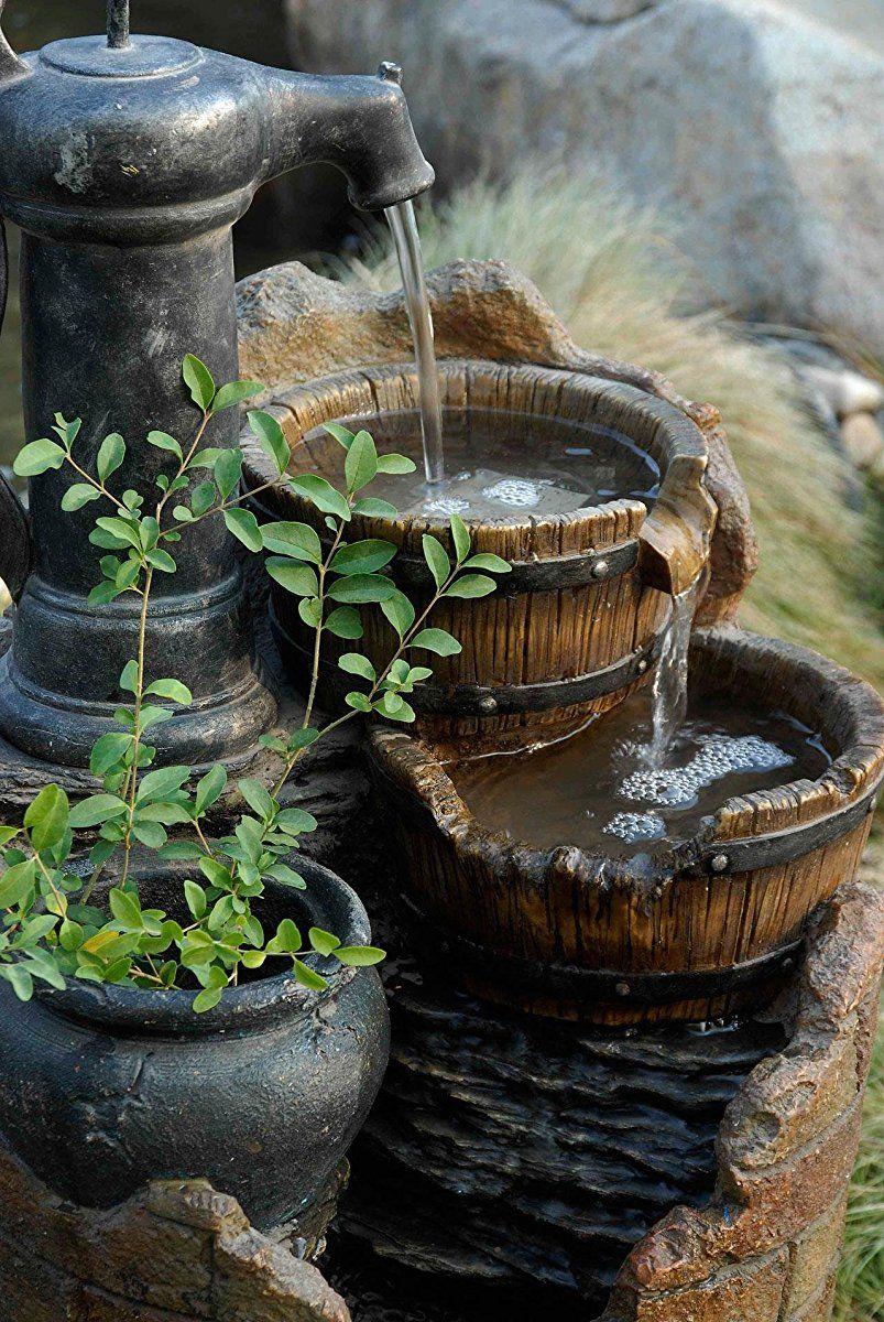 Glenville Water Pump Cascading Water Fountain Diy Garden Fountains Fountains Outdoor Rustic Gardens