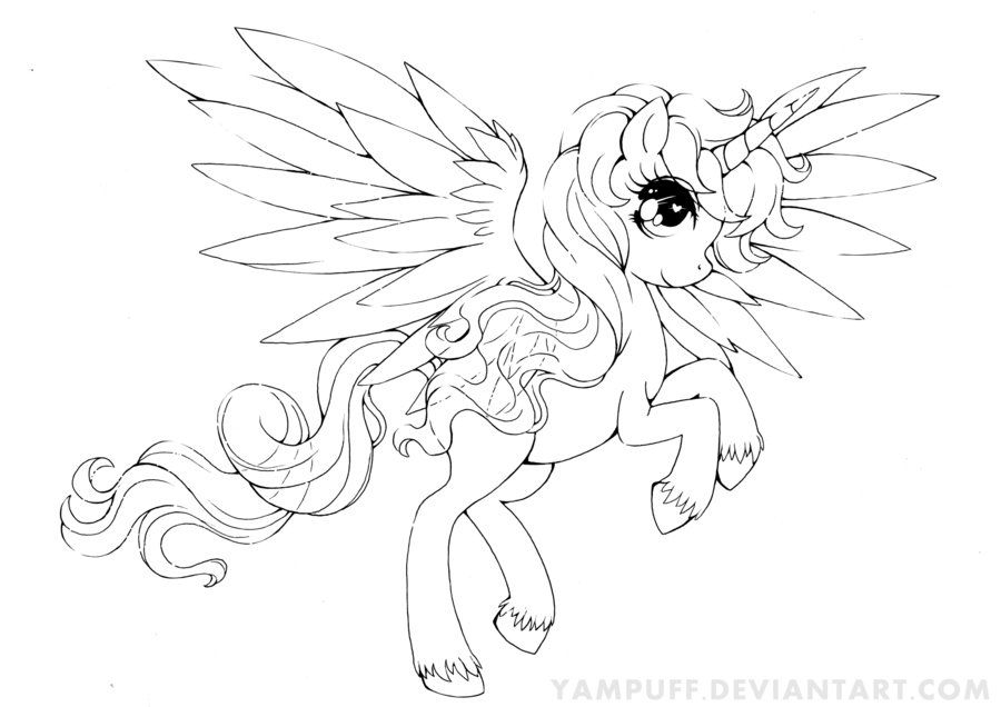 Alicorn Commission Lineart By Yampuff On Deviantart Coloring Pages Colorful Drawings Coloring Books