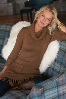 Montreux Sweater - Knit Sweater, Fringe, Tunic Length | Soft Surroundings