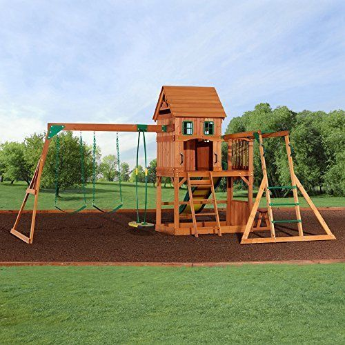 Outdoor Wood Playset Kids Cedar Swing Set W Large