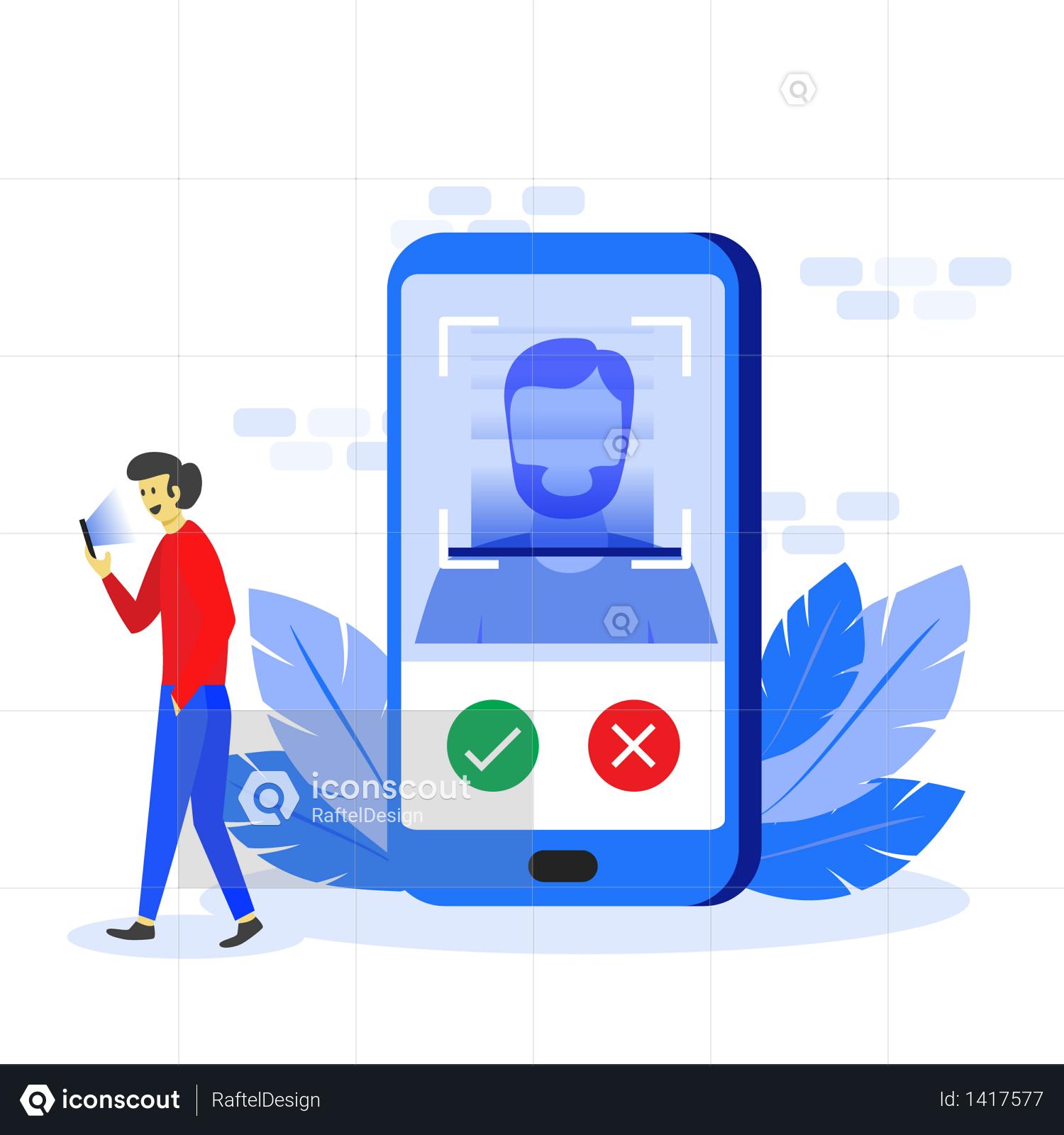 Premium Face Recognition Technology Concept Illustration Download