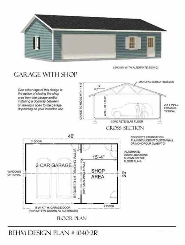 Two car garage with shop plan 1040 2r 40 39 x 26 39 by behm for One story garage with living quarters