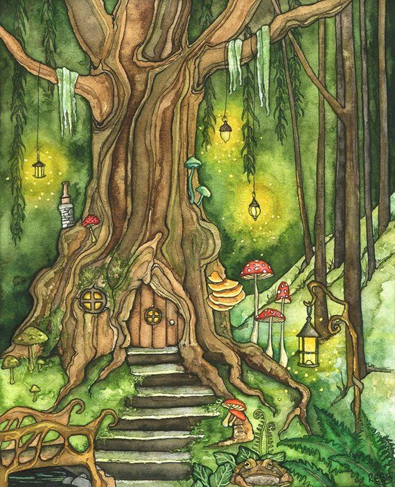 Enchanted Forest Painting Fantasy Art Fairy House Fantasy