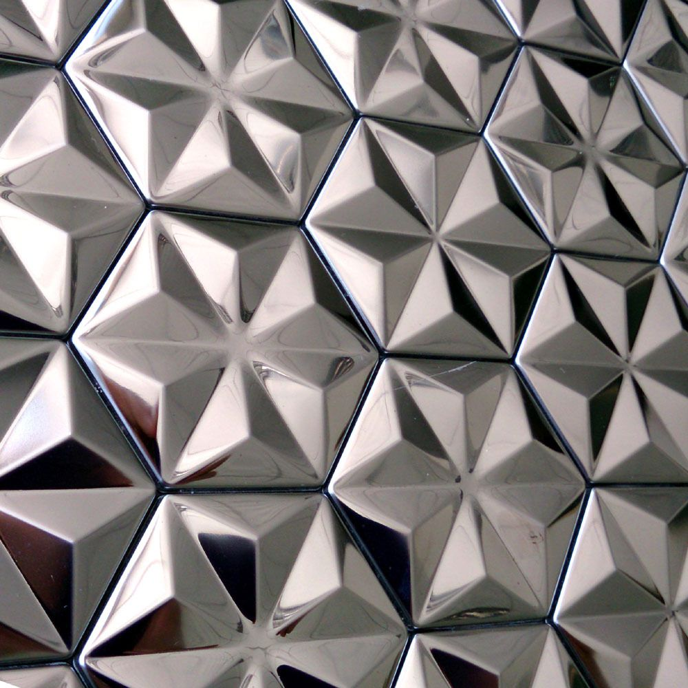 Barato telhas de prata mosaico 3d new hexagon espelho de for Mosaico adesivo 3d