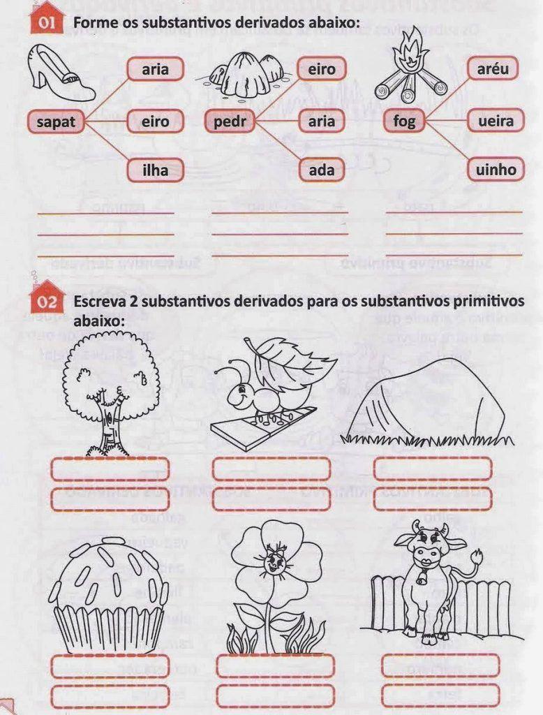 Atividades Com Substantivos Para Imprimir Substantivo Primitivo