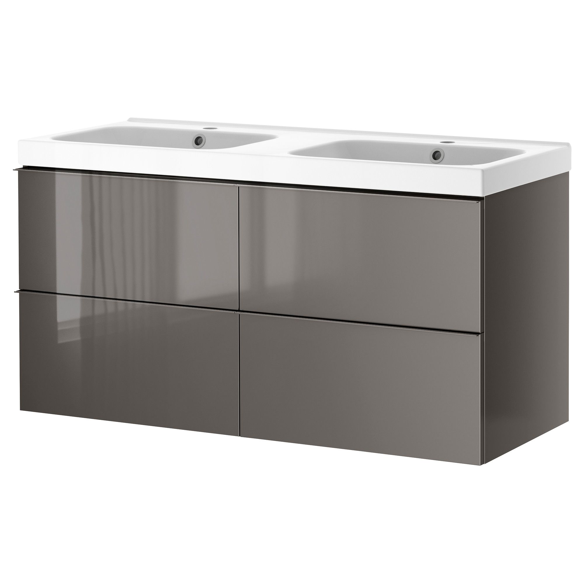GODMORGON/ODENSVIK Sink cabinet with 4 drawers - high gloss gray ...