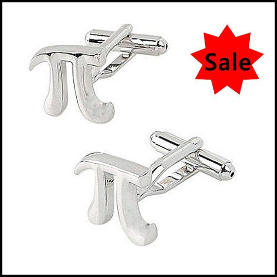 Silver Pi Symbol Novelty Math Cufflinks By Yourlifetreasures
