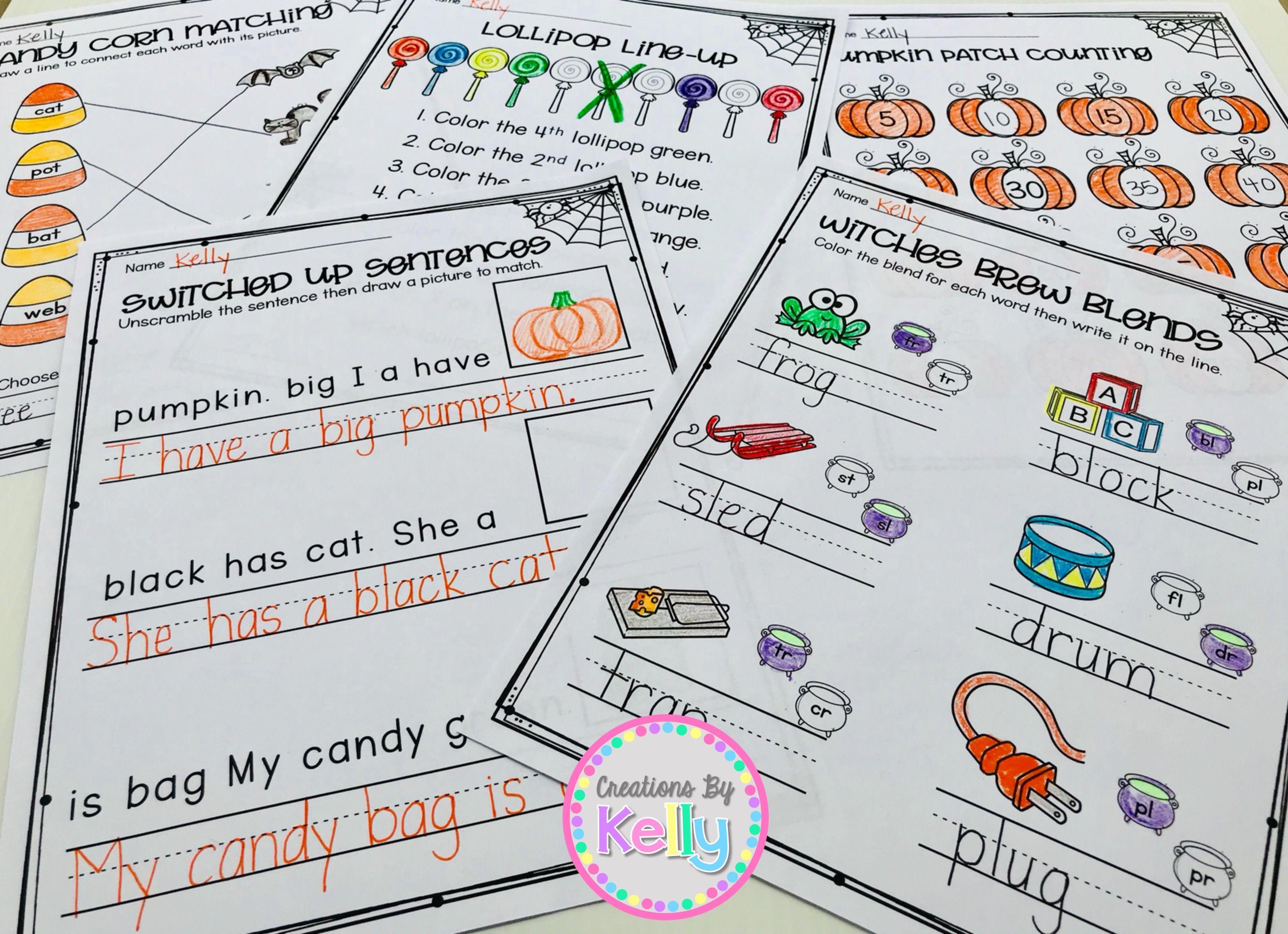 1st Grade Halloween Math And Literacy Pack Reading Worksheets Halloween Reading Worksheets For Kids [ 2320 x 3200 Pixel ]