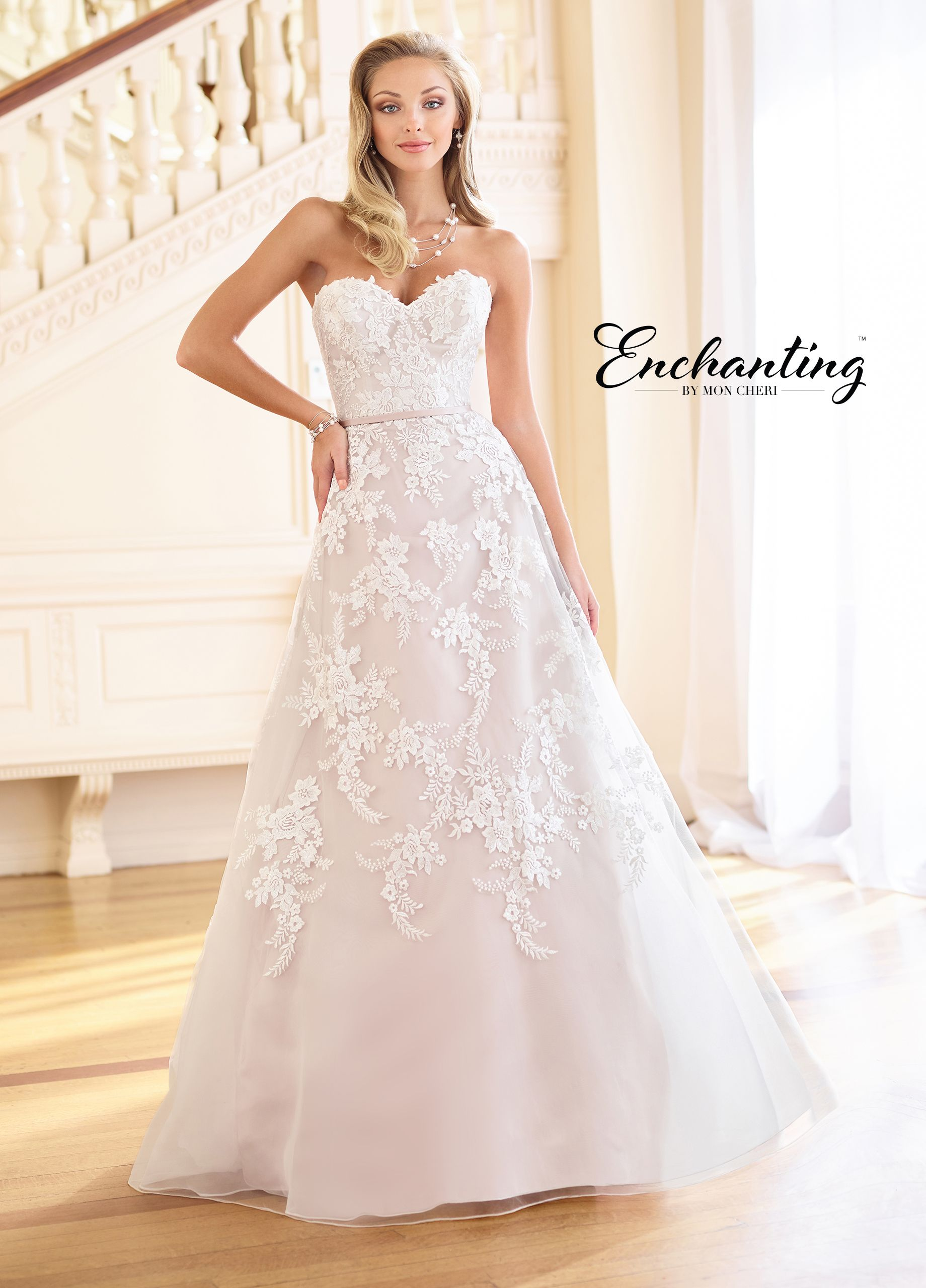 2fbd94f247 Enchanting By Mon Cheri 218162 - This ultra-feminine strapless scalloped  sweetheart embroidered Schiffli lace on tulle over satin A-line gown  features ...