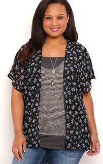 Plus Size Short Sleeve Floral Print Chiffon Kimono with Strap Back