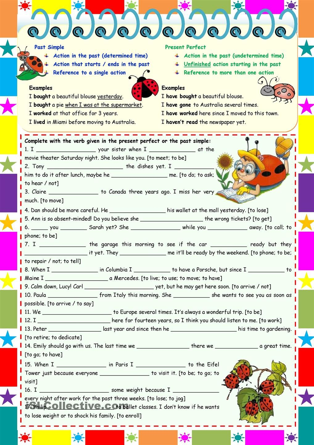 worksheet Simple Past Or Present Perfect Worksheet present perfect vs past simple grammar rules examples exercises