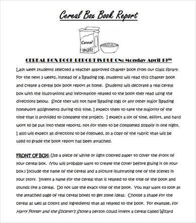 Free Cereal Box Book Report Template  Book Reports