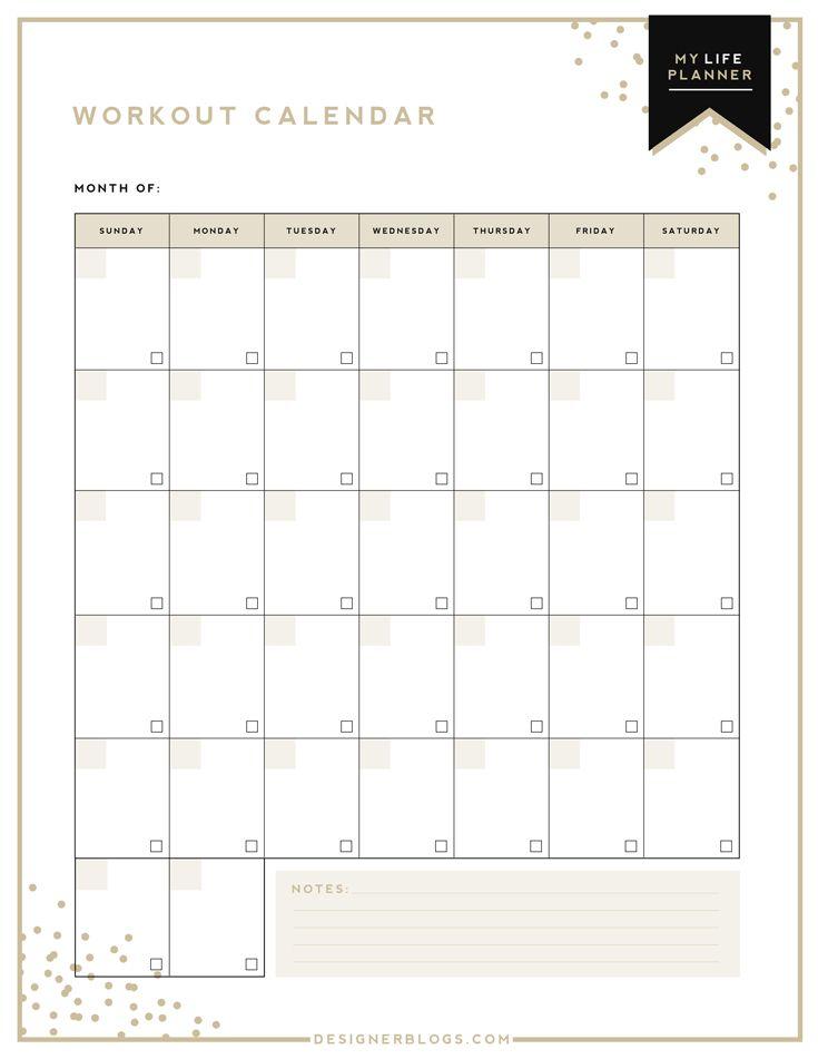 Workout Calendar Exercise Calendar Fitness Tracker Training - workout calendar