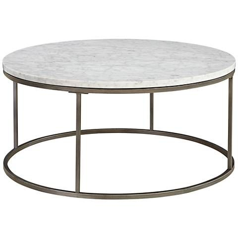 Alana Steel And White Marble Top Round Coffee Table Round Coffee