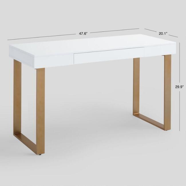 White and Gold Lynn Desk