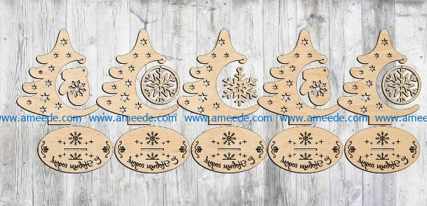 Christmas Tree Decorated For Christmas Day File Cdr And Dxf Free Vector Download For Laser Download Free Vector Vector Free Free Vector Files Vector File