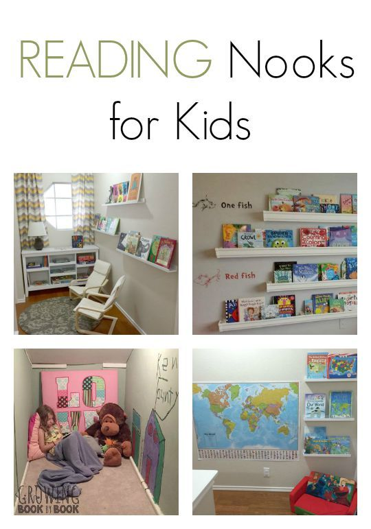 Growing Book by Book readers share their personal reading nooks for kids. Lots of great ideas to incorporate in your own home or classroom.