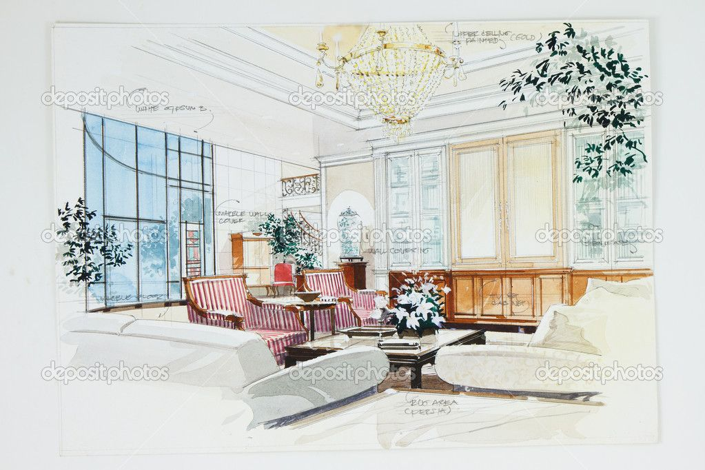 Interior Design Color Sketches sketch of an interior living room из buchachon, Роялти-фри