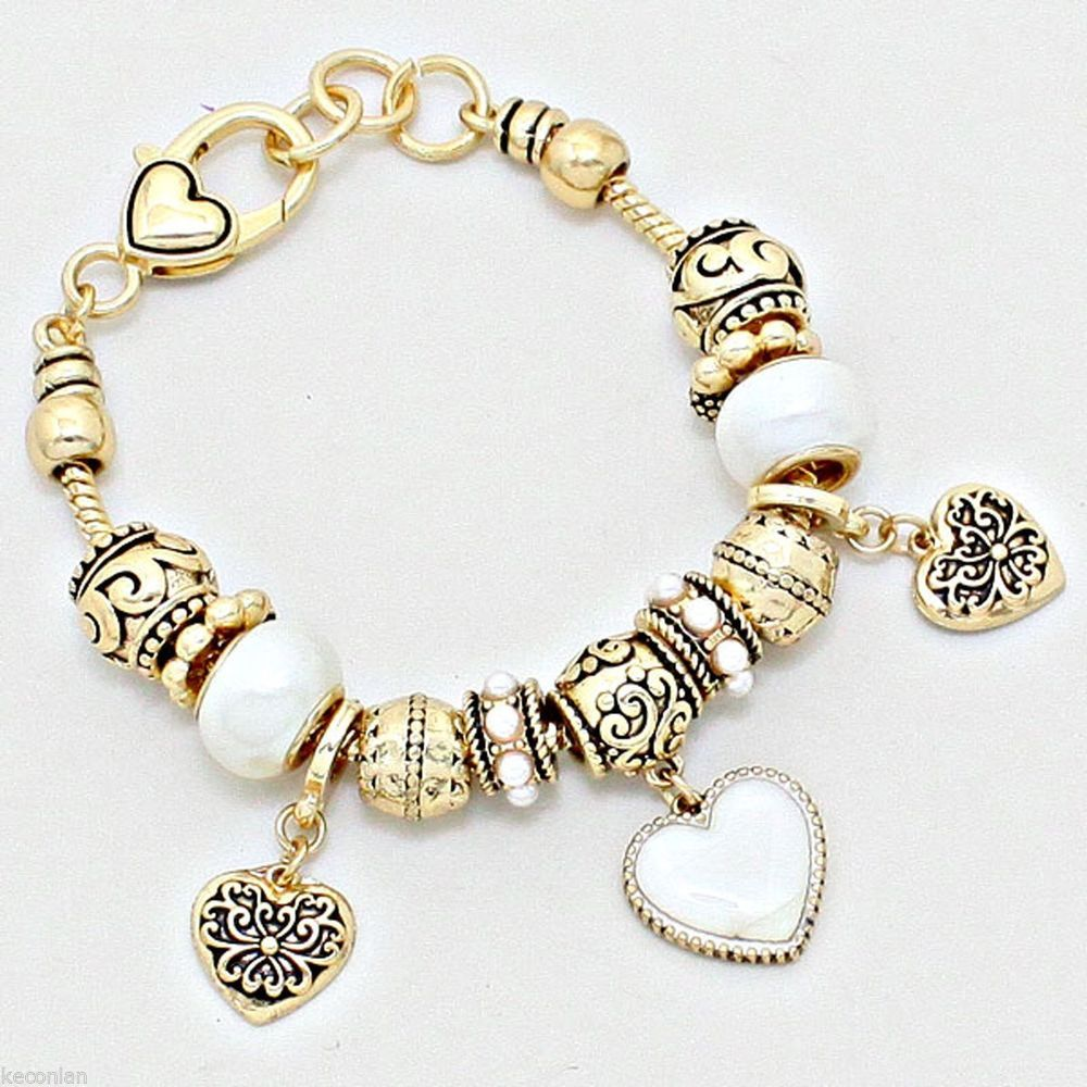 Brighton Bay Jewelry Gold Tone Decorative Beads Heart Charms Bracelet