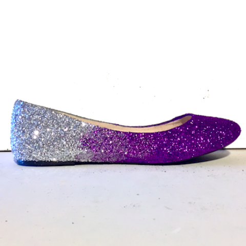 Womens Sparkly Purple Silver Ombre Glitter Ballet Flats Wedding Bride Bridesmaid Shoes