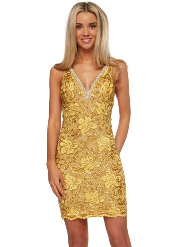 Baccio Zara Dress Crystal & Gold Painted Lace With Crystal Straps