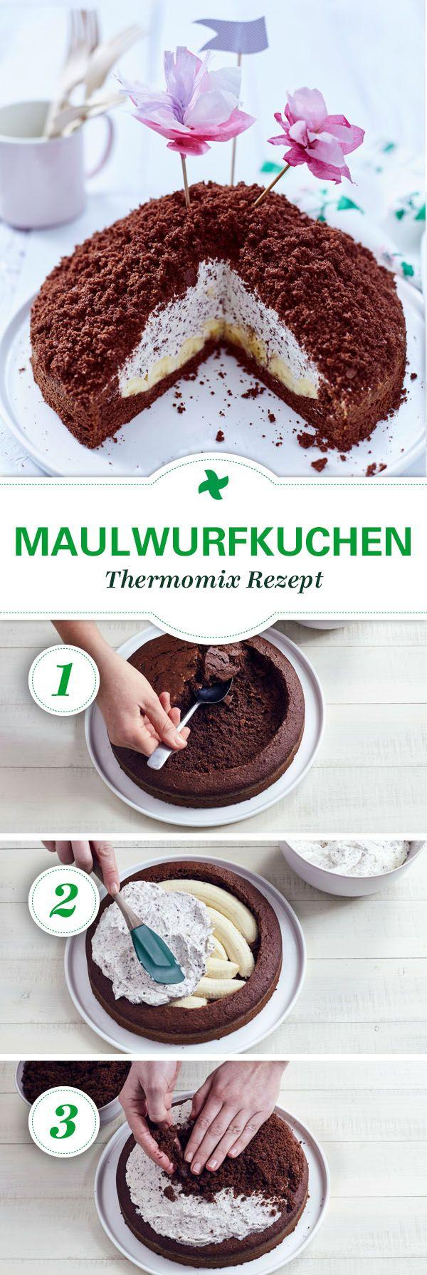Maulwurfkuchen schmeckt nicht nur zur Kinderparty! Ein einfaches Rezept um Selbermachen mit Thermomix ®. #veganermaulwurfkuchen