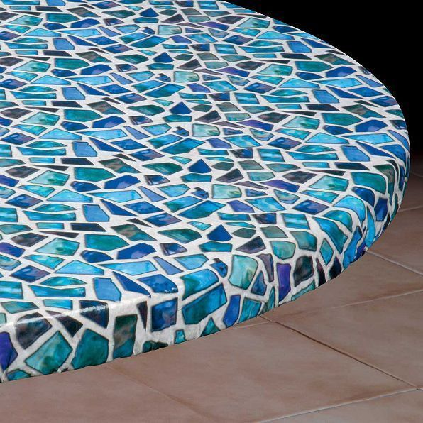 48 Square Sea Glass Elasticized Tablecloth Table Cover Vinyl Fitted Cover New Vinyl Table Covers Table Covers Round Table Covers