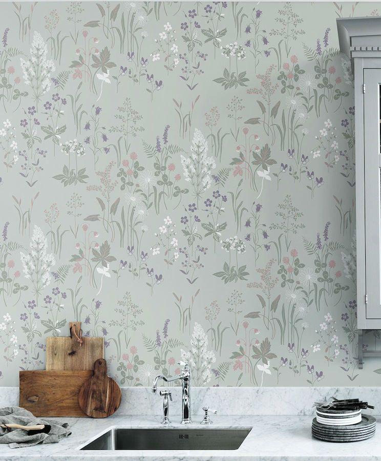 Tienda online telas papel papel pintado de flores for Papel pintado color plata