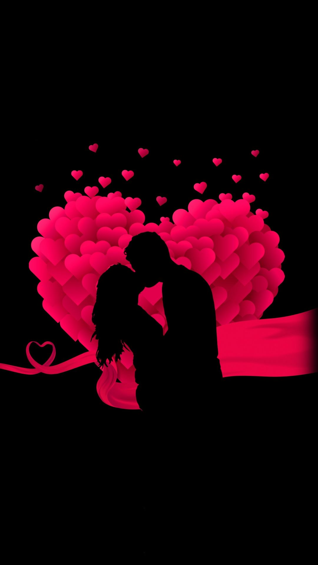 Couple Heart Love Minimal Kiss Silhouette Art 1080x1920