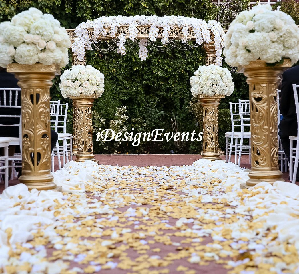 decorating ideas for outside wedding ceremony%0A Gold Open Style Mandap pillars for outside ceremony decoration  gold aisle  pillars  columns and