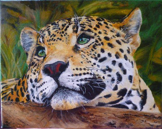 Jaguar Big Cat Original Oil Painting Hand Painted 8 x by pigatopia, $350.00
